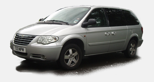 A silver grand voyager shauffeur driven car to illustrate one of your choices when trying to find your perfect wedding car
